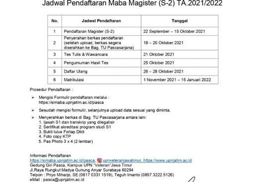Jadwal Pendaftaran Mahasiswa Baru Magister (S-2) TA. 2021-2022